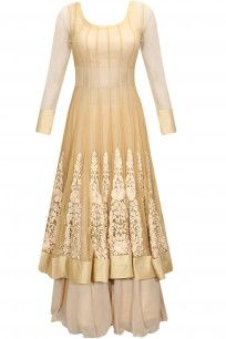 Beige resham embroidered anarkali lehenga set