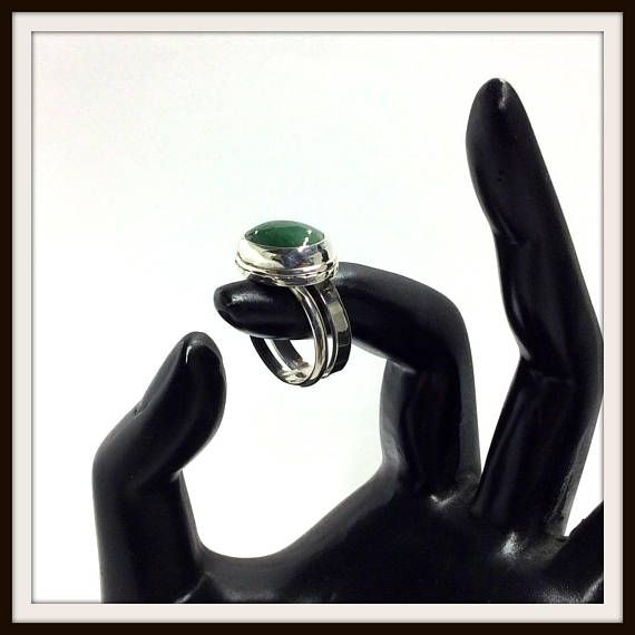 Sterling silver ring emerald green oval cabochon double ring