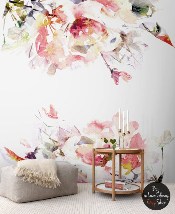Spring Floral Removable Wallpaper, Watercolor wall mural