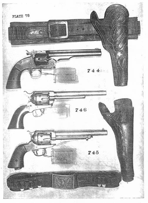 Original Jesse James holster, belt, and pistols. This was supposedly the belt and holster that was laid on the bed when Jesse was shot. The bottom holster and belt belonged to Frank James. Private Collection.