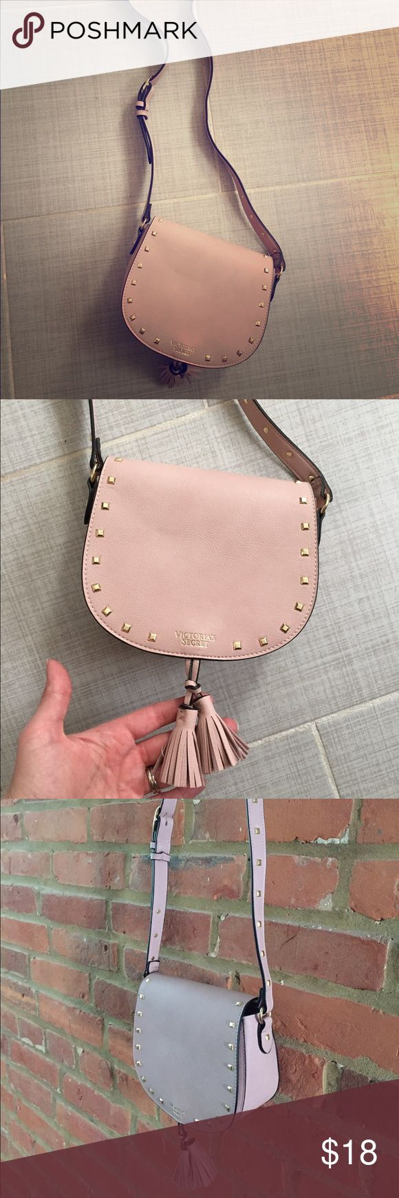 Victoria's Secret boho festival cross body bag Light pink, faux leather. Good size for phone, wallet, keys, and makeup. Gold accents. Fringe. Super cute + brand new/never used! Victoria's Secret Bags Crossbody Bags