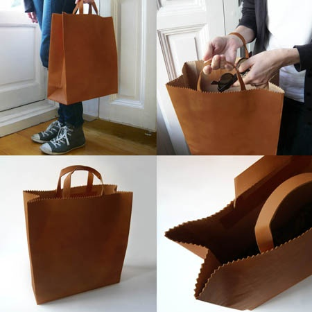 Tell us it's artisan-made and we love it. This trompe l'oeil tote may appear to be a paper bag, but it's crafted from durable leather.