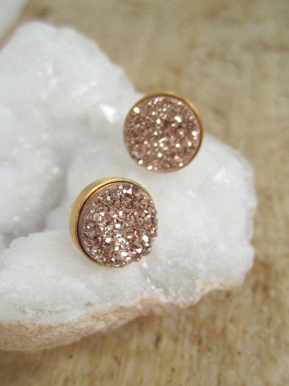 Rose Gold Druzy Earrings Titanium Drusy Quartz Studs Gold Vermeil Bezel Set