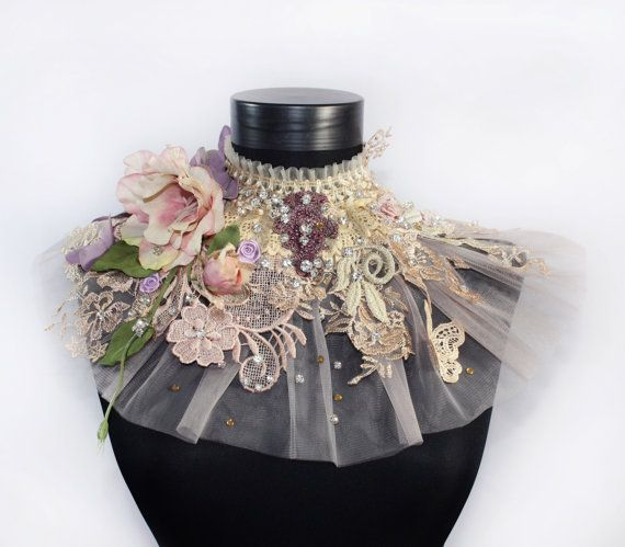 I present you this lavender Victorian choker necklace, couture lace tulle fashion accessories, fantasy fairy choker, wedding crystal jewellery