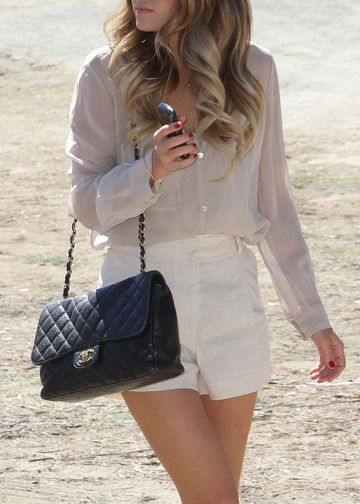 .: Big Curls, White Shorts, Chanel Bags, Outfit, Laurenconrad, Style Icons, Lauren Conrad, Hair, High Waist Shorts