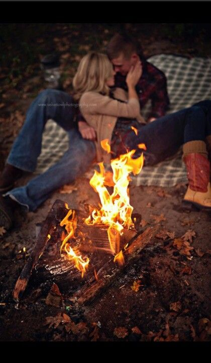 Camp fire engagement photos