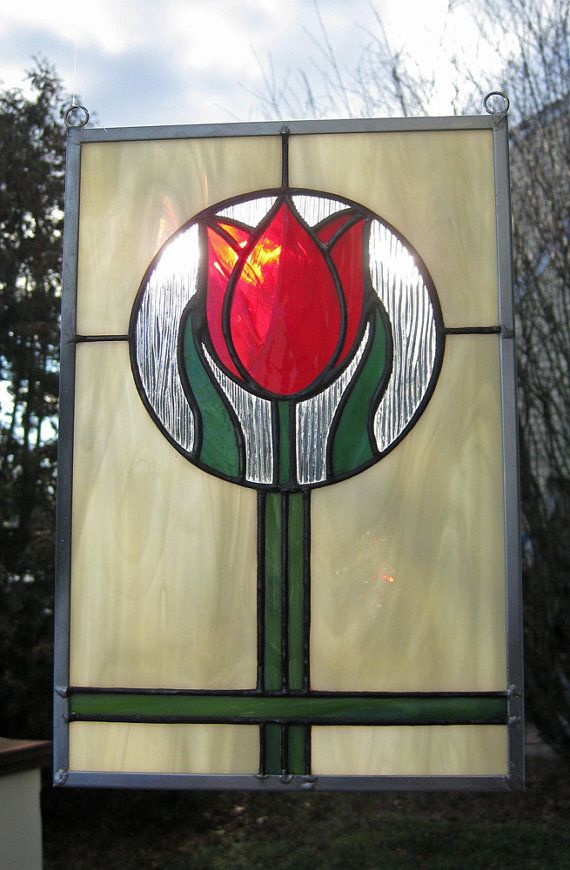 Crimson Tulip Stained Glass Panel by HeartLightGlass on Etsy, $75.00