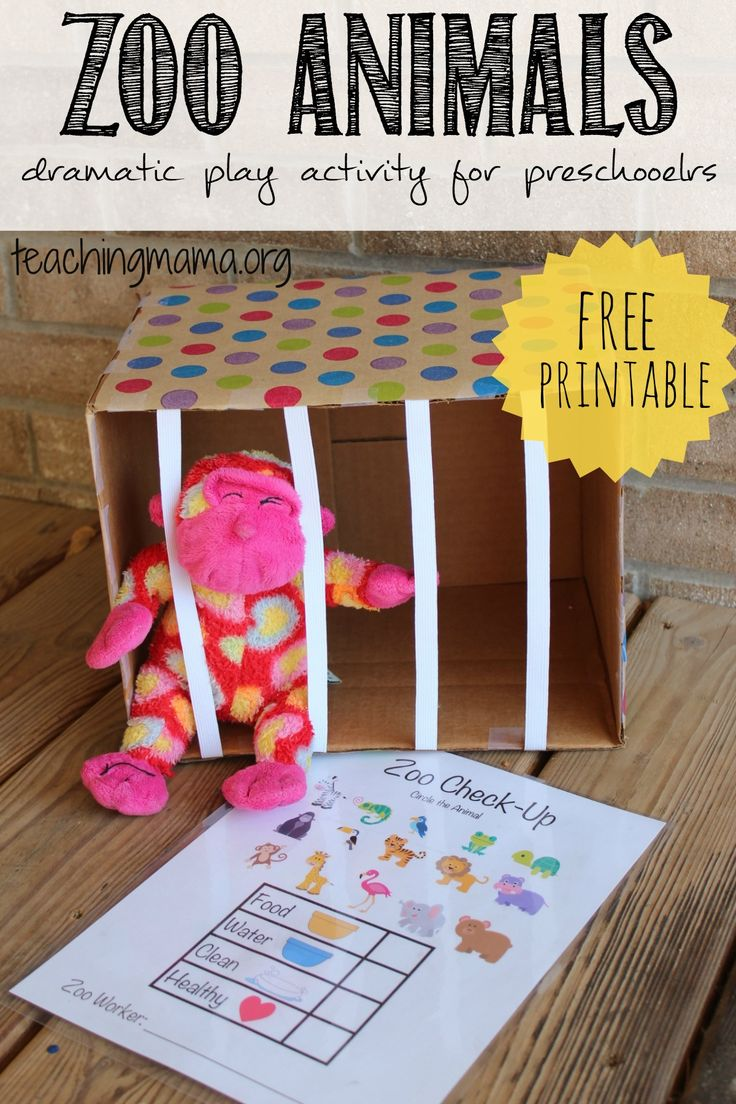 Zoo Animals Dramatic Play Activity for Preschoolers -- with a free printable!