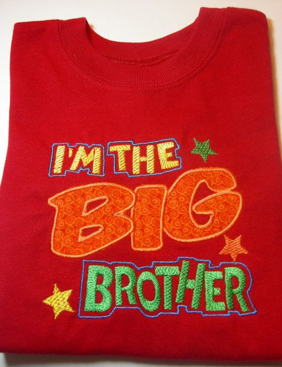 I'm the Big Brother Applique Embroidered Applique Shirt by BabblesBubblesBows, $30.00