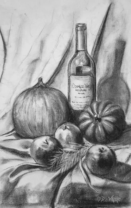 Fall Harvest charcoal drawing by Dee Dee Whittle