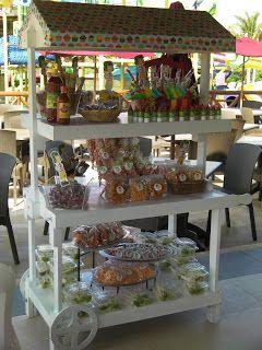 Mesa de dulces con el tema del chavo del 8