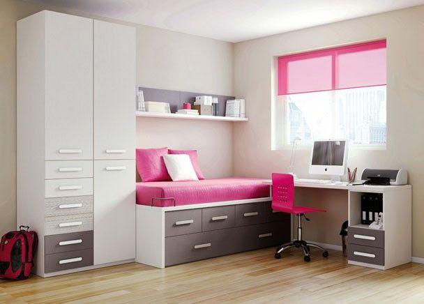 Habitación infantil con cama compacto de 4 cajones y arrastre nido, armario de 3 puertas con 6 cajones exteriores y mesa estudio con módulo de 2 cajones y hueco.
