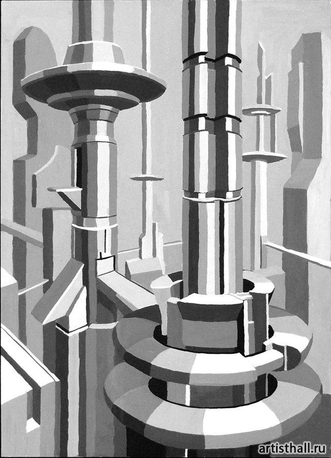Концептуальное выполнение композиции Мегаполис - 1 #art #design #draw #композиция #графика #мегаполис #artworkshop #artisthall