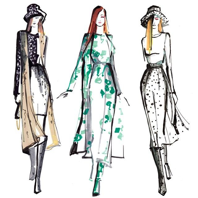 Live sketching from today's #MaxMara show #mfw ❤️❤️❤️