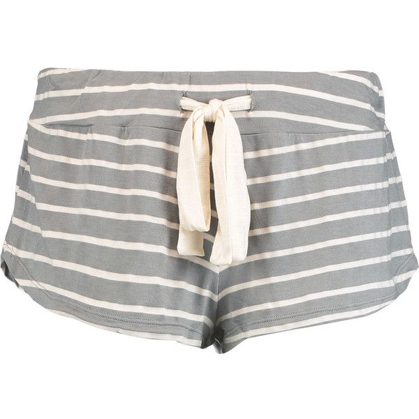 Eberjey Striped jersey pajama shorts (100 BRL) ❤ liked on Polyvore featuring intimates, sleepwear, pajamas, gray green, striped jersey, striped pyjamas, eberjey, green jersey and green pajamas