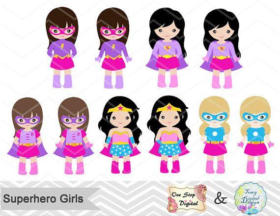 27 poco chica superhéroes Digital Clip Art rosa púrpura