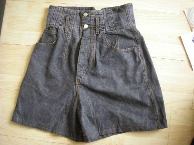 Zwart/grijze denim shorts korte broek hoge taille - mt 38 - Prijs: € 5,00