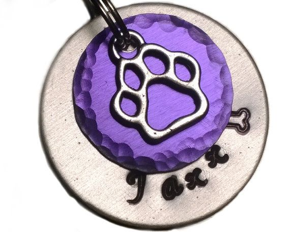 Dog Id Tag,Paw Pet Tag,pet tag,Purple pet tag,dog tag,personalized dog tag,unique pet tag,custom pet id tag,pet id tag,cat tag,small dog tag
