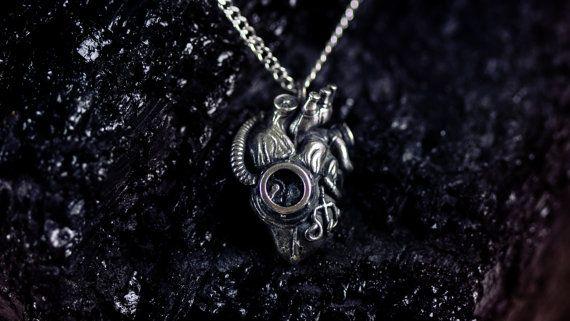 Steampunk heart  - Mechanical -Anatomy - silver chain - box- shine silver