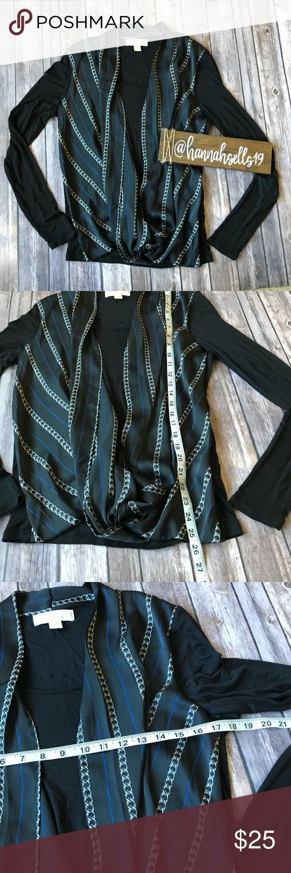 Michael Kors Layered Twist Blouse Size Medium Like new silky scooped and twisted blouse with soft under layer. This is perfect for a day at he office or looks great with skinny jeans 💠From a clean and smoke free home!💠 Add to a bundle to get a private discount💠Free Gift with $25+ Purchase 💠 Discount ALWAYS Available on 2+ items💠 No trades, holds, modeling or transactions off of Poshmark.💠 Michael Kors Tops