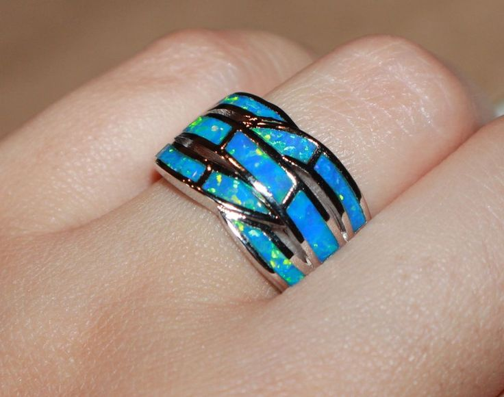 blue fire opal ring Gemstone silver jewelry Sz 8.25 engagement wedding wide band #Band