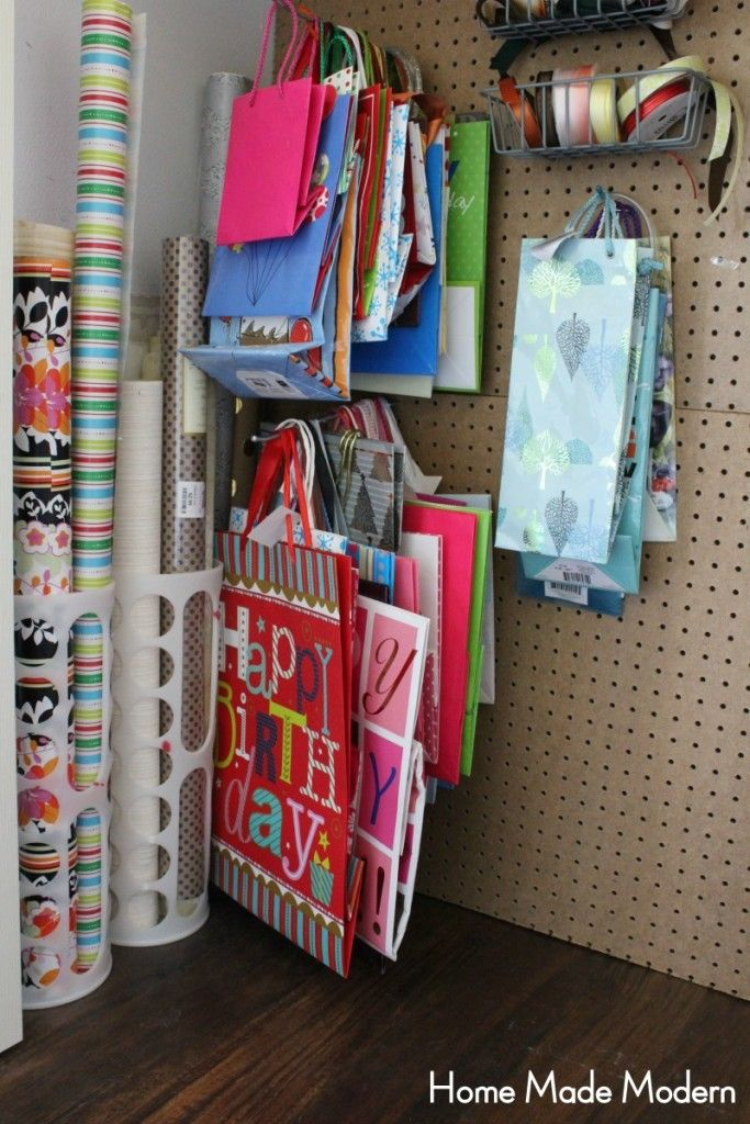 Charming Real Life Storage Hacks   Home Made Modern Organizing Wrapping Paper And Gift  Bags.