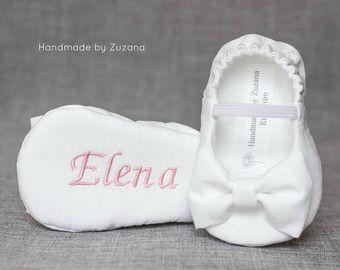 WHITE Christening shoes for girls Personalized by handmadebyzuzana