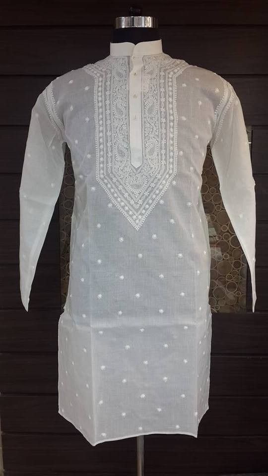 Lucknow Chikan Hand Embroidered Mens Kurta White on White Cotton $29.21