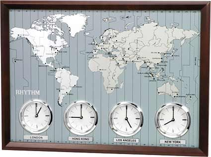 <p> World Time zone clock by Rhythm Time Zone Clocks with four separate analog clocks perfect for reception areas or work spaces. Each clock is able to display one of four different time zones of your choice. Handsome wooden frame on the case with a map of the world with a time zone grid. Comes with 37 world Cities names and 3 blank plates. Runs On 4 &#...