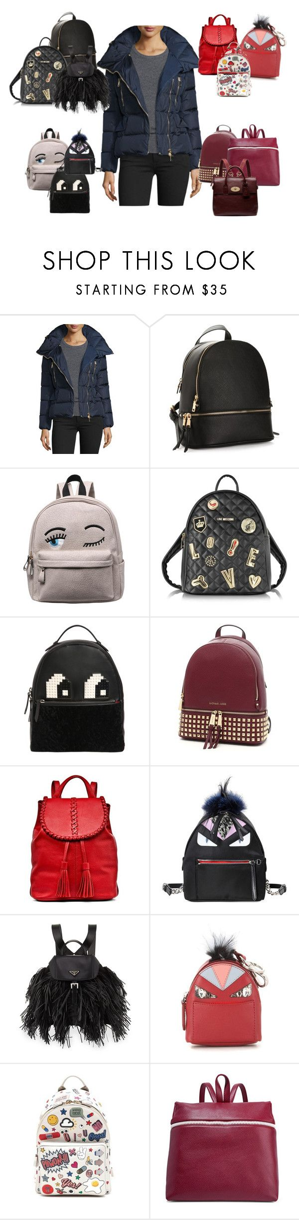"""""""I need a backpack...!"""" by cherithreadgill ❤ liked on Polyvore featuring Moncler, Love Moschino, Les Petits Joueurs, MICHAEL Michael Kors, Jack Rogers, Fendi, Prada, Anya Hindmarch, Kara and Mulberry"""