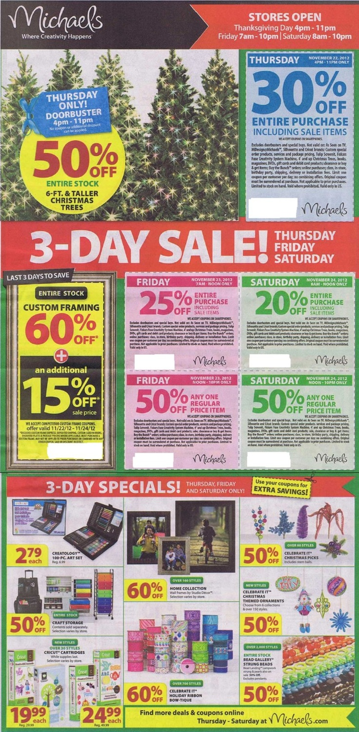 8 best thanksgiving day shopping deals ads images on for Michaels craft store black friday hours