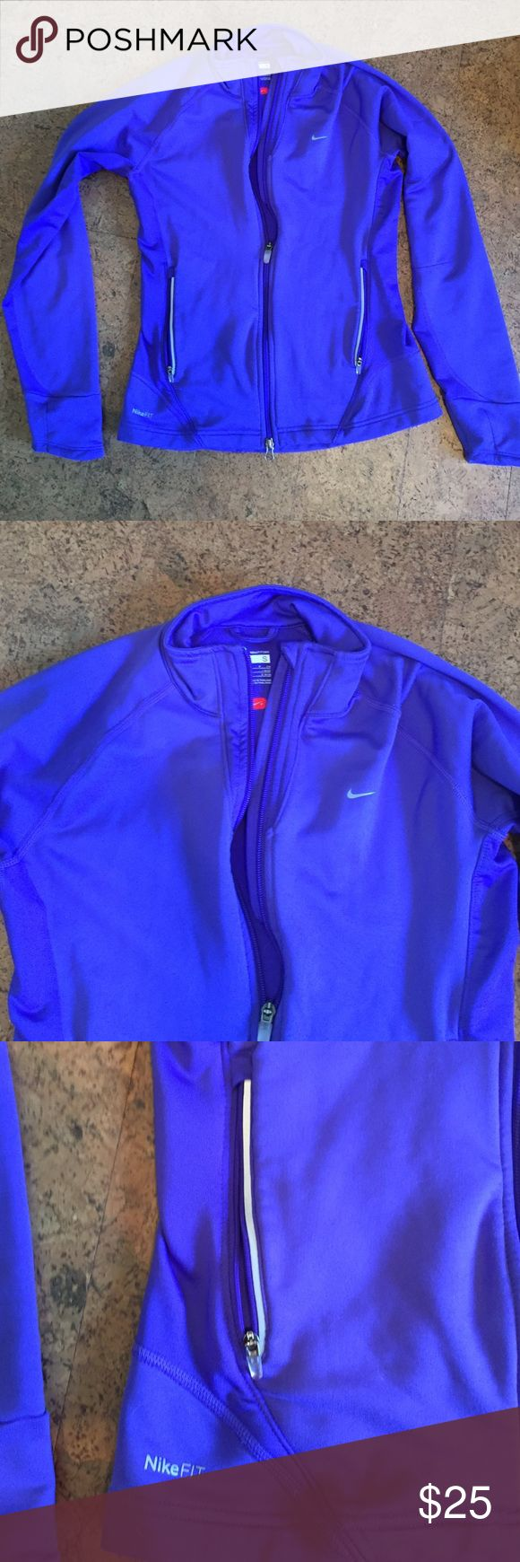 Purple women's Nike zip up Purple Nike zips up. Women's small. Zip up pockets and fleece inside. Nike Tops Sweatshirts & Hoodies