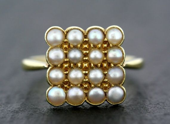 Antique Pearl Ring - Edwardian Arts & Crafts 15ct Gold Pearl Ring
