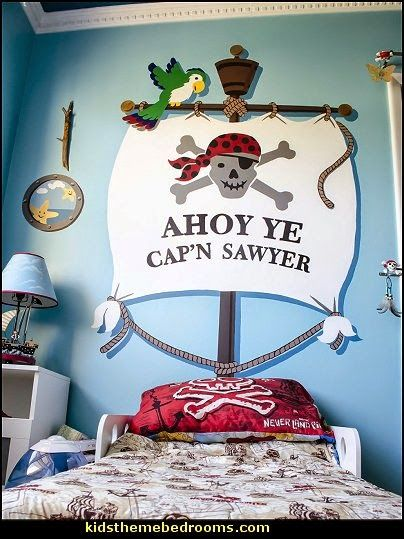 Ahoy ye matey bedhugger wall mural jaxton pinterest for Kids pirate room