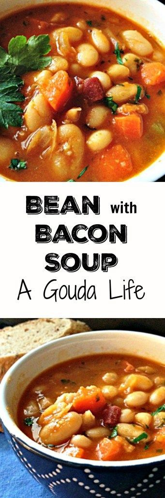 Homestyle Bean with Bacon Soup made with OR without a ham bone too. Hearty, packed with flavor. A must this winter.