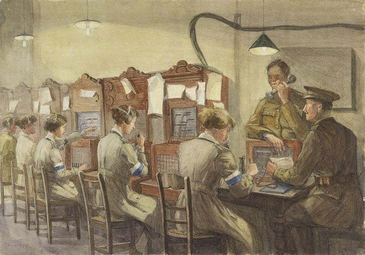 Queen Mary's Army Auxiliary Corps Signallers, Base Hill, Rouen – Telephones by Beatrice Ethel Lithiby c. 1914-18 (@I_W_M). Telephone exchange.