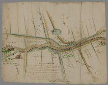 """Percelen, wegen en wateren in de omgeving van het huis Bolham op de grens van de Over- en Nederbetuwe], 31 augustus 1640 door N.van Geelkercken Het zuiden boven. Naar """"den ogenschijn"""" getekend. Zit een omslag met kaarten betreffende diverse percelen en uitwaarden in het rivierengebied. Betreft goederen in eigendom van Van de Borch van Verwolde. Bolham is mogelijk het huis Boulenham of Boelenham"""