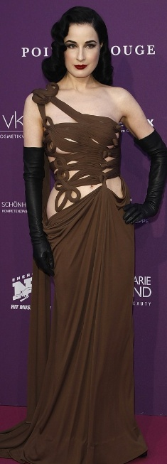 Who made Dita Von Teese's brown gown that she wore in Berlin on May 4, 2012?