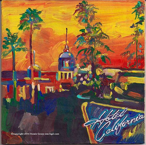 Eagles Hotel California album cover art painting by Howie Green
