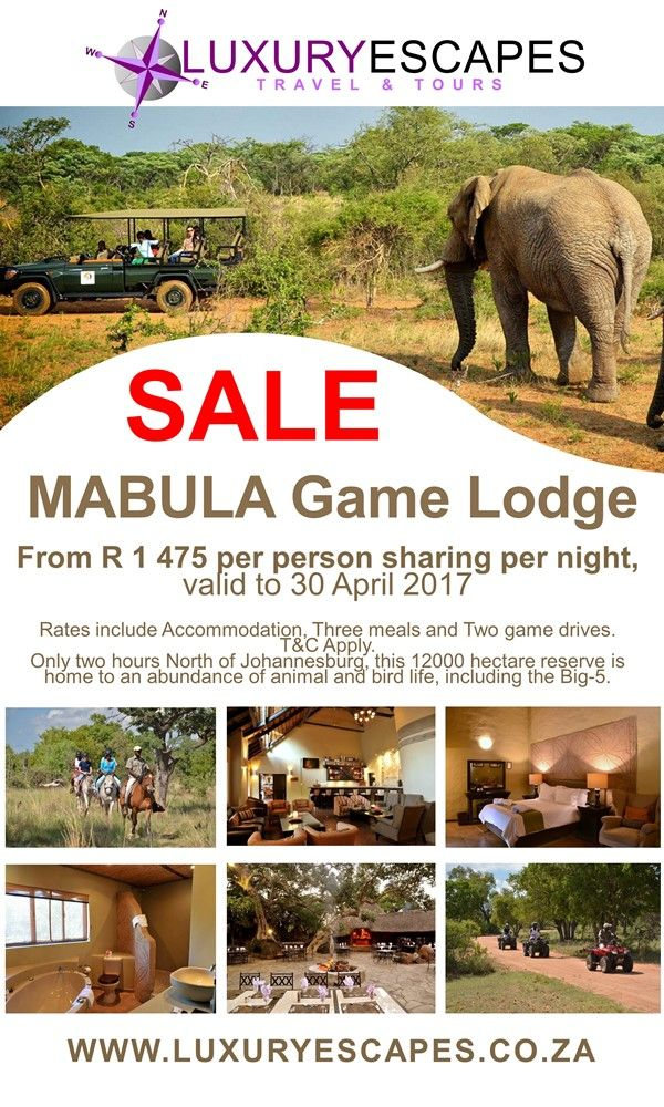 Mabula Game Lodge #TravelSpecial from R 1 475 per person sharing per night, valid to 30 April 2017. Rates include Accommodation, Three meals and Two game drives. See www.luxuryescapes.co.za