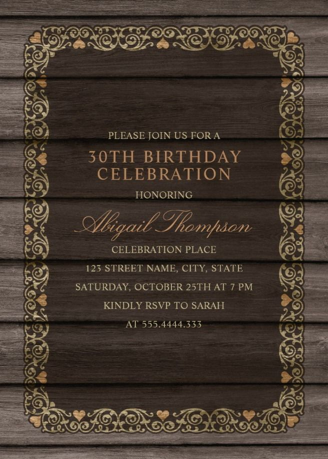 Fancy Wood 30th Birthday Invitations