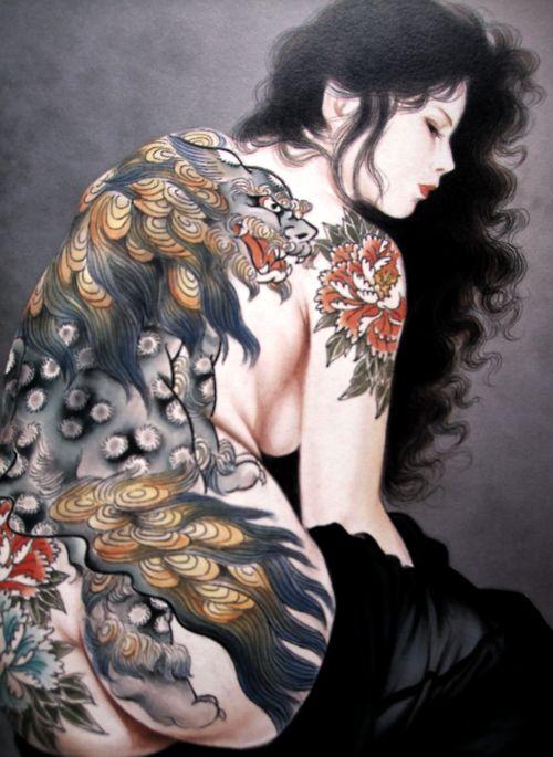 beautiful tattooed woman, asian style art