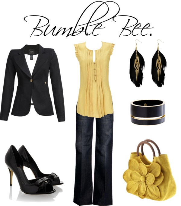 """Bumble Bee."": Dreams Closet, Clothing Sets, Fantasy Wardrobes, Momma Style, Gorgeous Outfits, Ideal Closet, Closet Hope, Bumble Bees, Yellow Blouse"