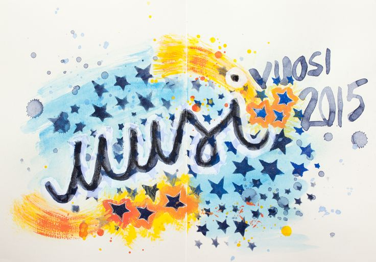 Uusi vuosi 2015 - I was inspired by Creative JumpStart to play with acrylic paints and other paint media in my art journal. I was also inspired by Julie's tutorial to create my own stencil