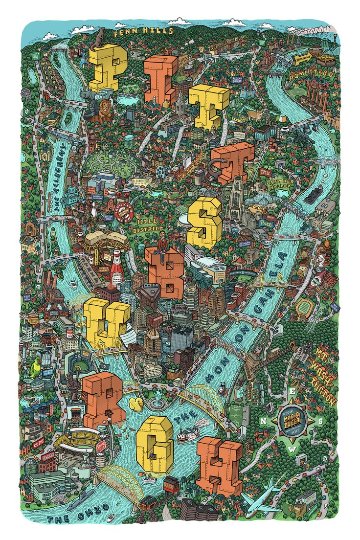 pittsburgh map by Mario Zucca http://mariozucca.com/projects/pittsburgh-map/
