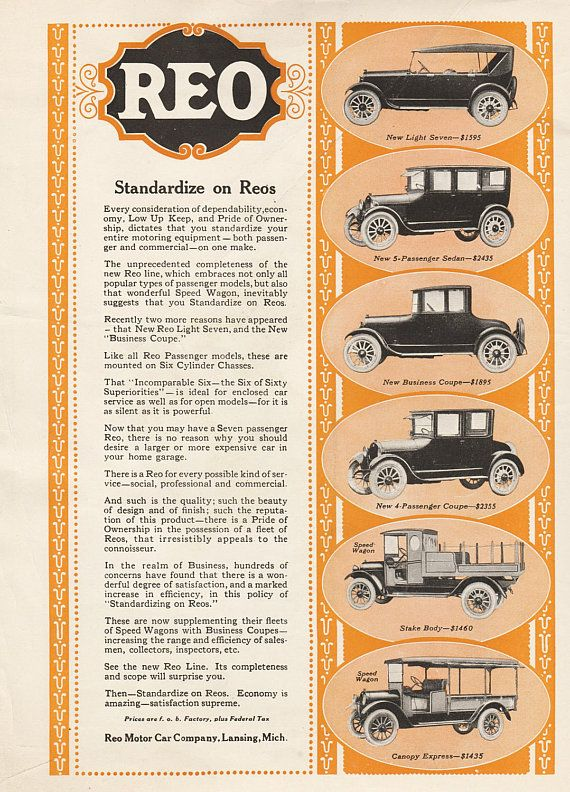 Vintage Automobile Ads 1922 REO Speed Wagon Two-tone