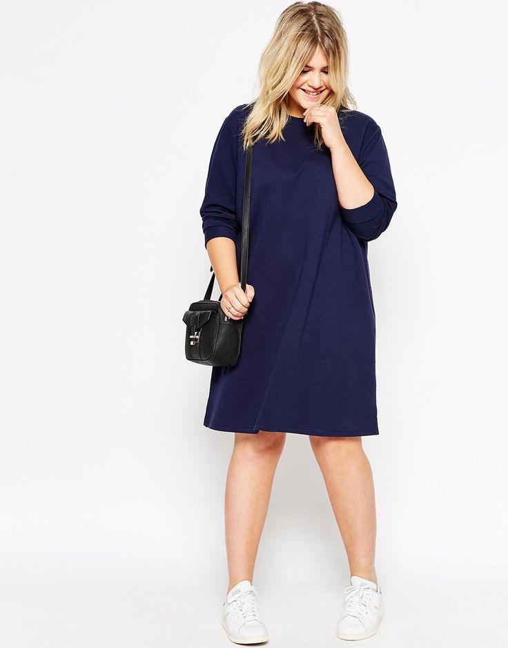 Bild 4 von ASOS CURVE – Sweatshirt-Kleid mit Rundhalsausschnitt