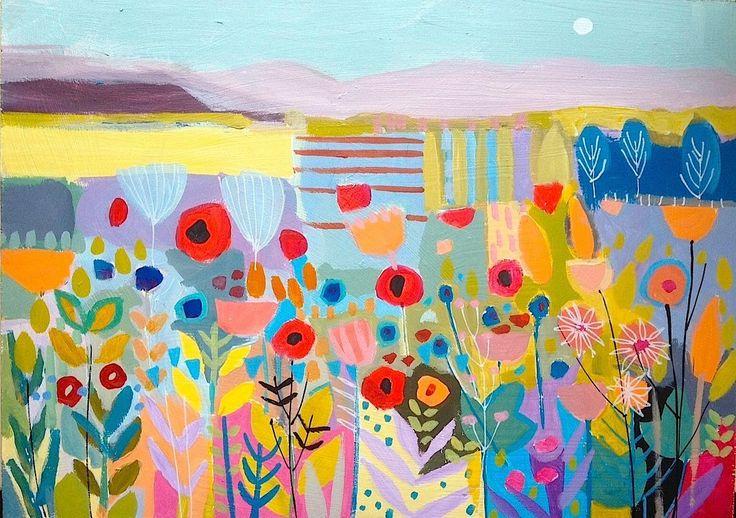 Original Signed Acrylic Landscape Painting -Wild Meadow- by Annabel Burton | eBay