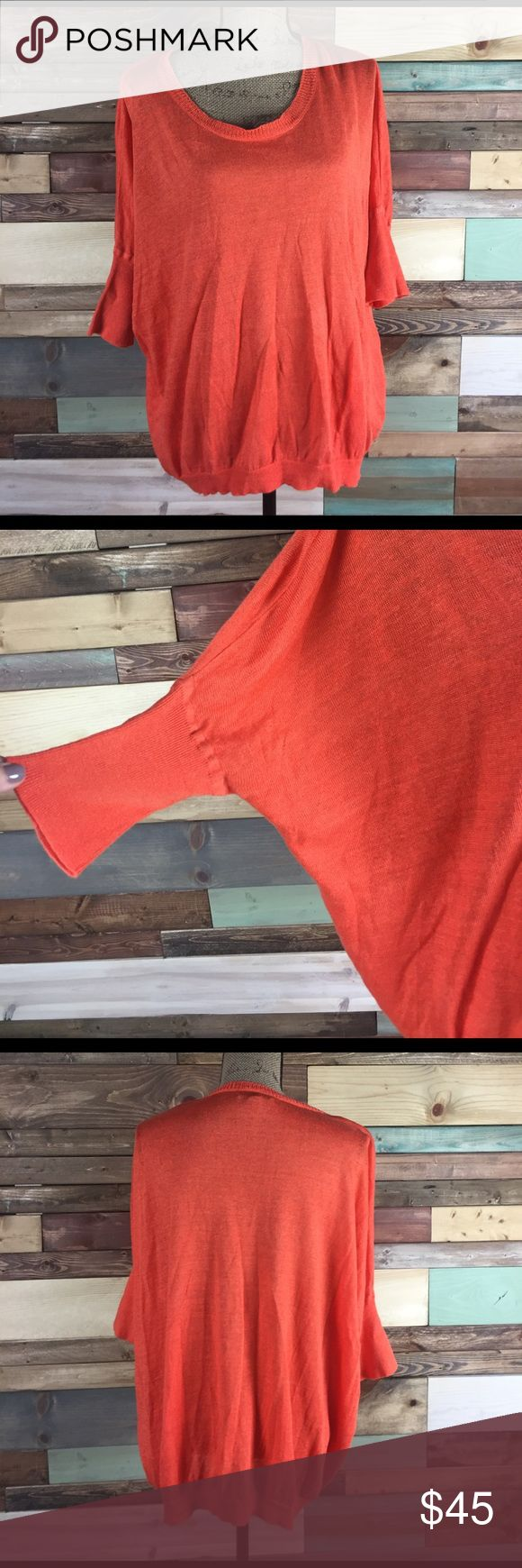 J. Crew Orange Slouchy Linen Tunic Sweater - M J. Crew Orange Slouchy Linen Tunic Sweater - M // 100% Linen / batwing style sleeves / longer Length / Medium J. Crew Tops Tunics