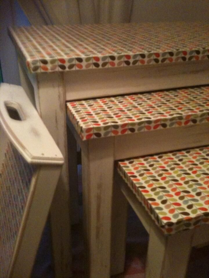 Wrapping paper upcycled nest of tables